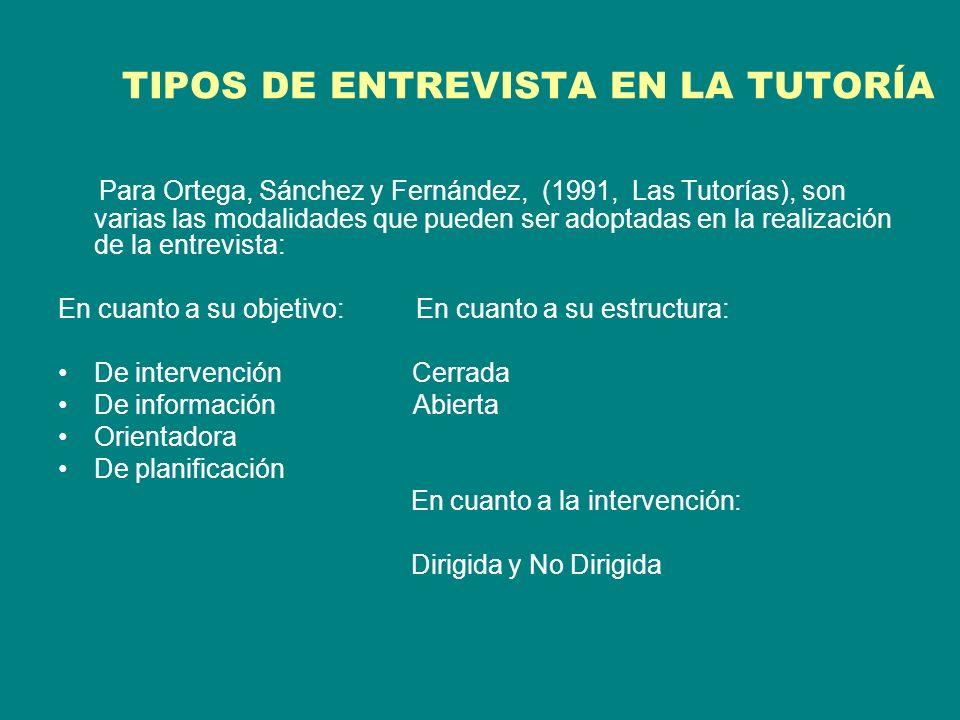 TIPOS DE ENTREVISTA EN LA TUTORÍA