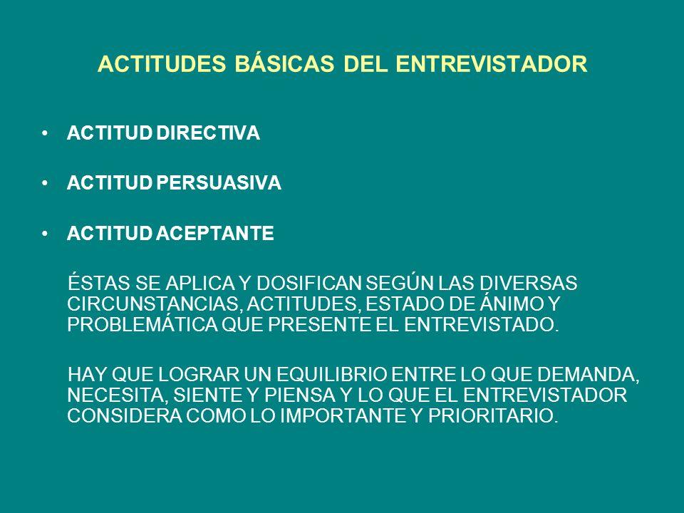 ACTITUDES BÁSICAS DEL ENTREVISTADOR