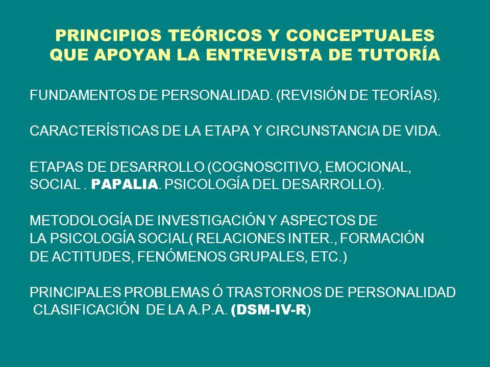 PRINCIPIOS TEÓRICOS Y CONCEPTUALES QUE APOYAN LA ENTREVISTA DE TUTORÍA