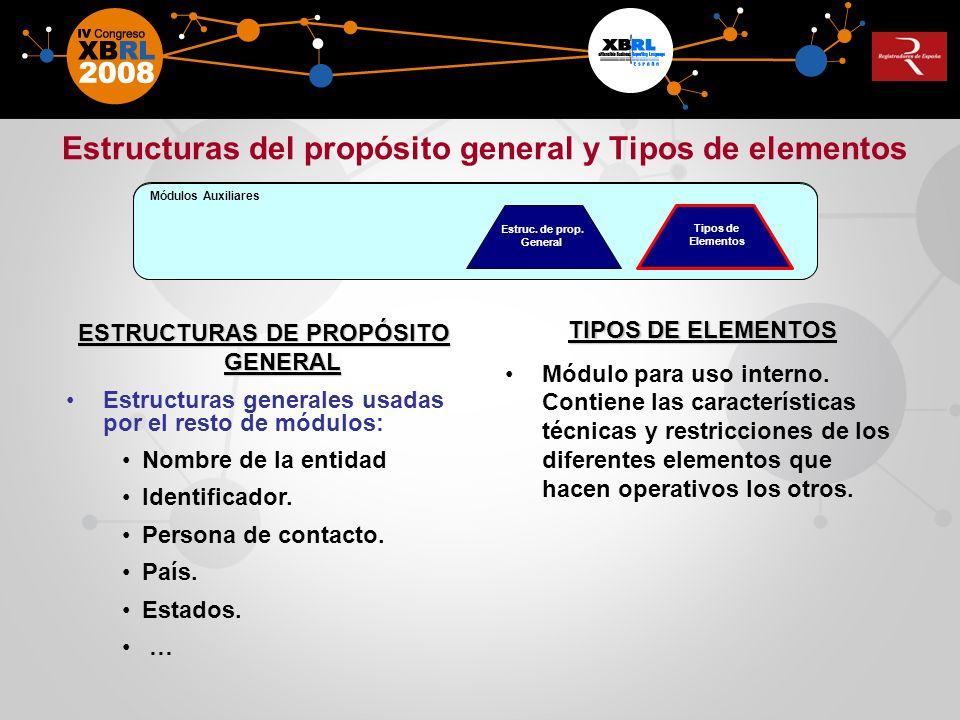 Estructuras del propósito general y Tipos de elementos
