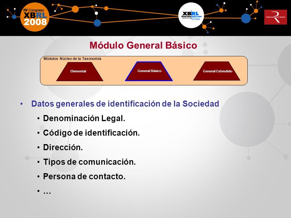 Módulo General Básico Datos generales de identificación de la Sociedad