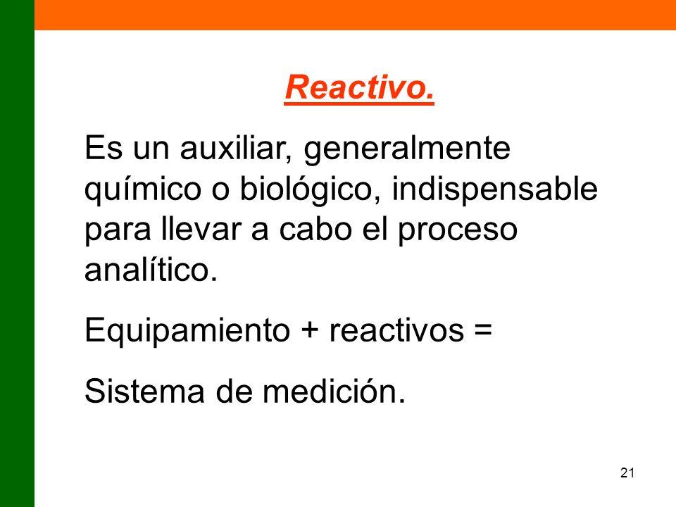 Reactivo.Es un auxiliar, generalmente químico o biológico, indispensable para llevar a cabo el proceso analítico.