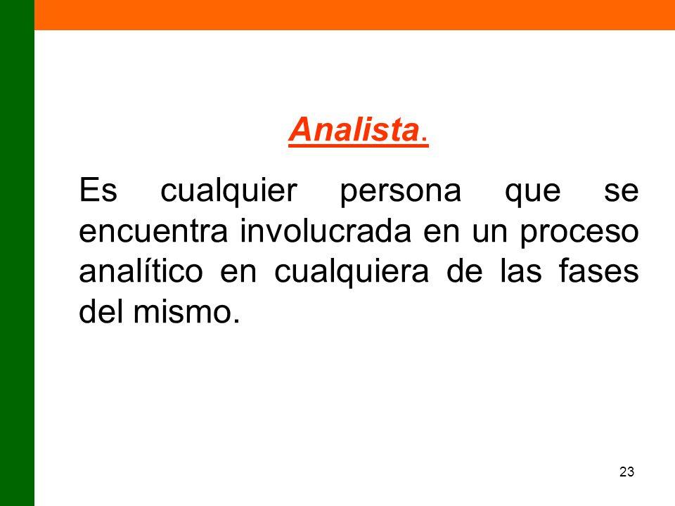 Analista.Es cualquier persona que se encuentra involucrada en un proceso analítico en cualquiera de las fases del mismo.