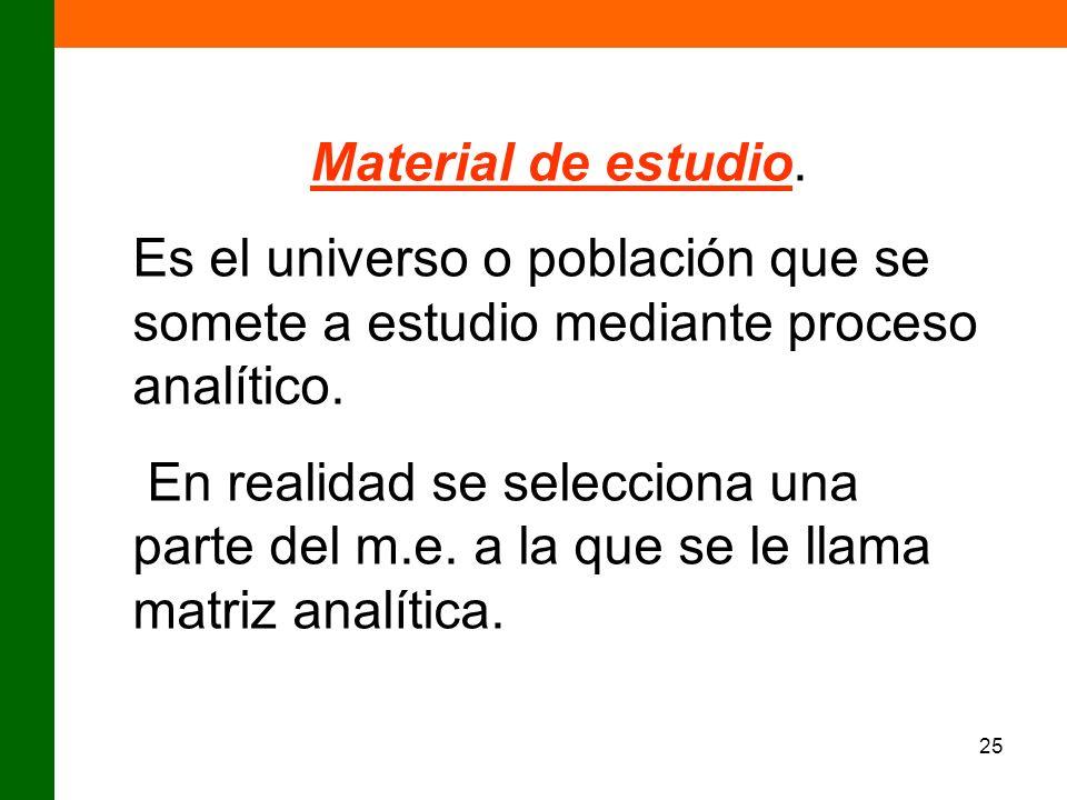 Material de estudio. Es el universo o población que se somete a estudio mediante proceso analítico.