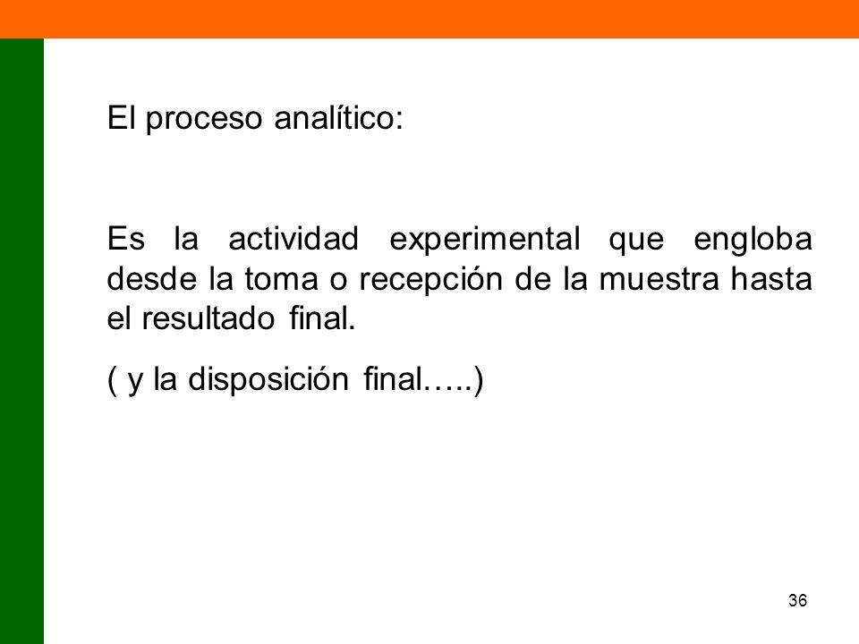 El proceso analítico:Es la actividad experimental que engloba desde la toma o recepción de la muestra hasta el resultado final.