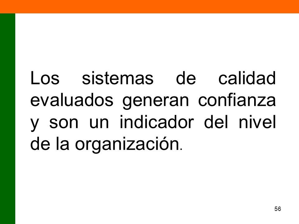 Los sistemas de calidad evaluados generan confianza y son un indicador del nivel de la organización.