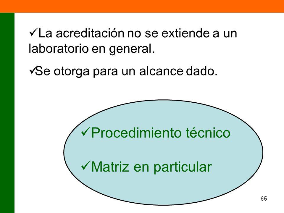 Procedimiento técnico Matriz en particular