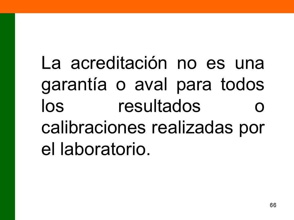 La acreditación no es una garantía o aval para todos los resultados o calibraciones realizadas por el laboratorio.