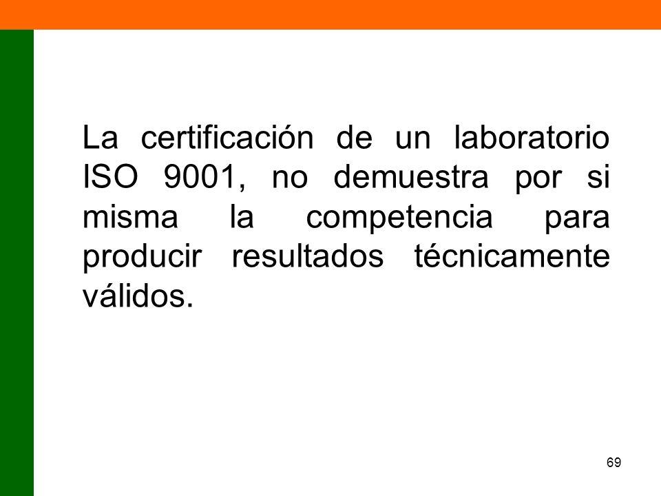 La certificación de un laboratorio ISO 9001, no demuestra por si misma la competencia para producir resultados técnicamente válidos.