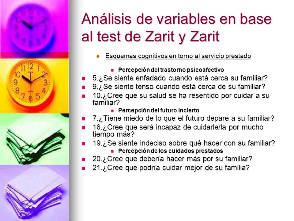 Análisis de variables en base al test de Zarit y Zarit