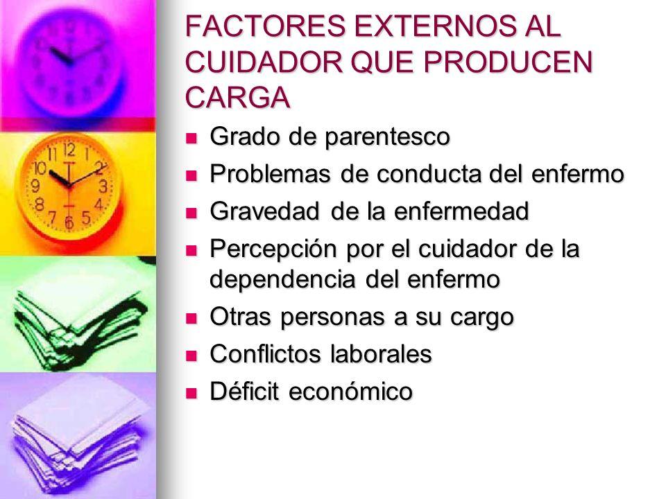 FACTORES EXTERNOS AL CUIDADOR QUE PRODUCEN CARGA