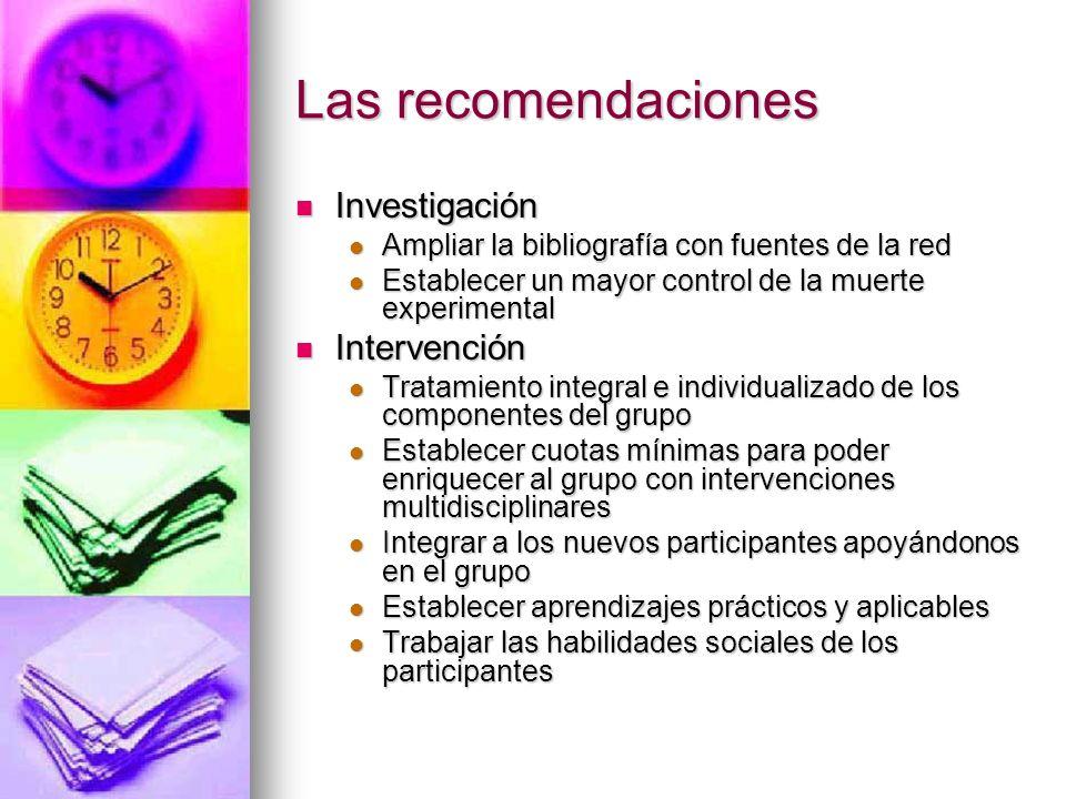 Las recomendaciones Investigación Intervención
