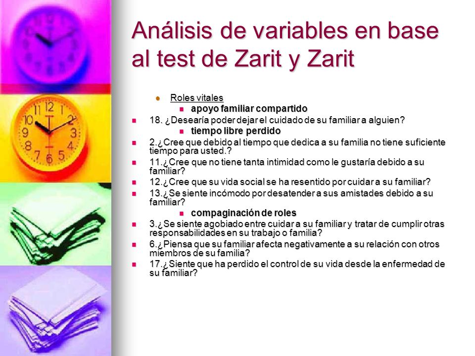 Análisis de variables en base al test de Zarit y Zarit