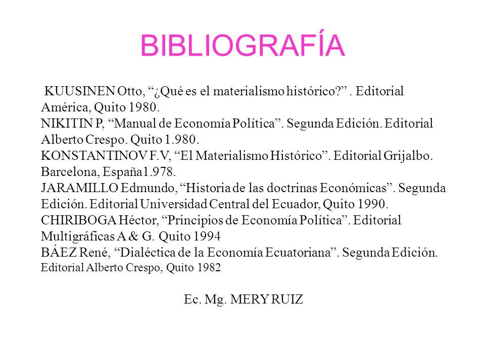 BIBLIOGRAFÍA KUUSINEN Otto, ¿Qué es el materialismo histórico . Editorial América, Quito 1980.