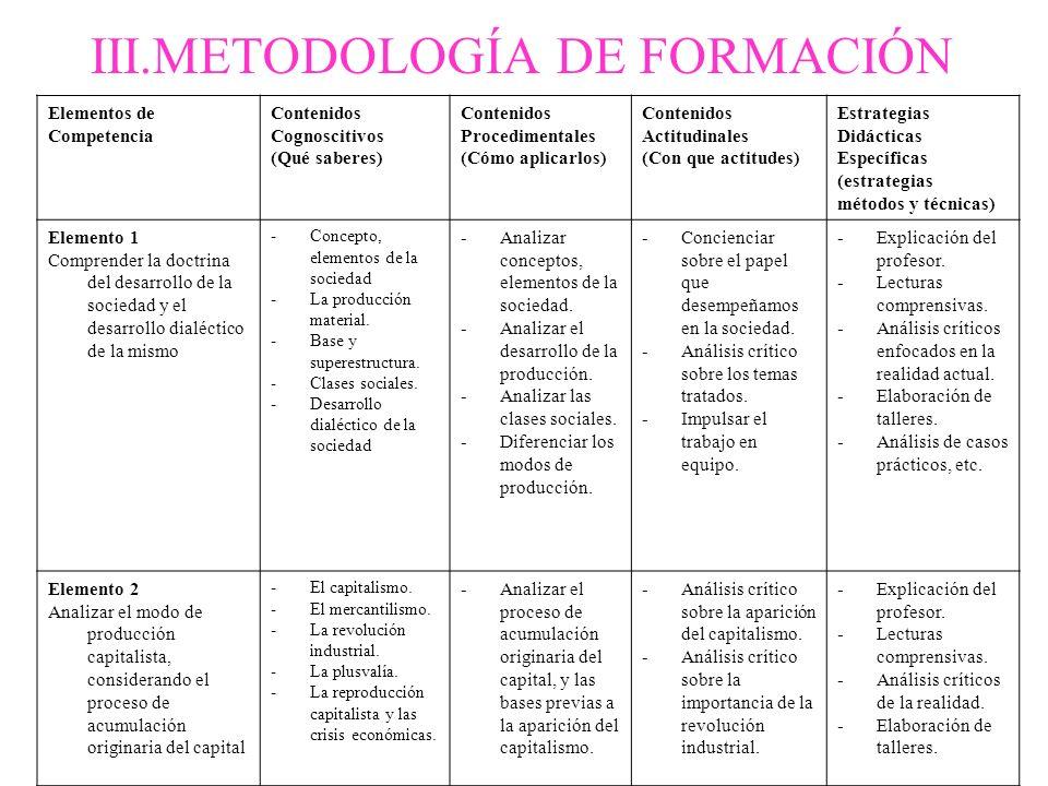 III.METODOLOGÍA DE FORMACIÓN