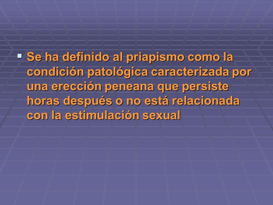 Se ha definido al priapismo como la condición patológica caracterizada por una erección peneana que persiste horas después o no está relacionada con la estimulación sexual