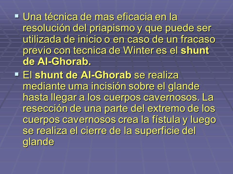 Una técnica de mas eficacia en la resolución del priapismo y que puede ser utilizada de inicio o en caso de un fracaso previo con tecnica de Winter es el shunt de Al-Ghorab.