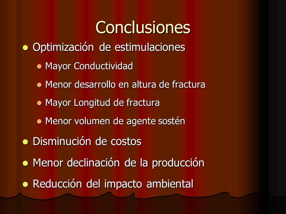 Conclusiones Optimización de estimulaciones Disminución de costos