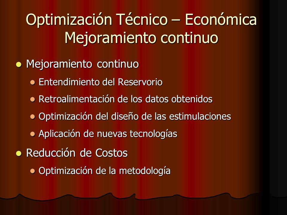 Optimización Técnico – Económica Mejoramiento continuo