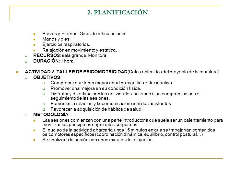 2. PLANIFICACIÓN Brazos y Piernas. Giros de articulaciones.