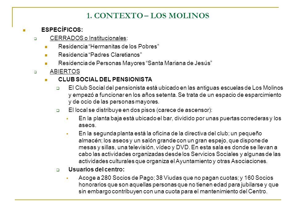 1. CONTEXTO – LOS MOLINOS ESPECÍFICOS: CERRADOS o Institucionales: