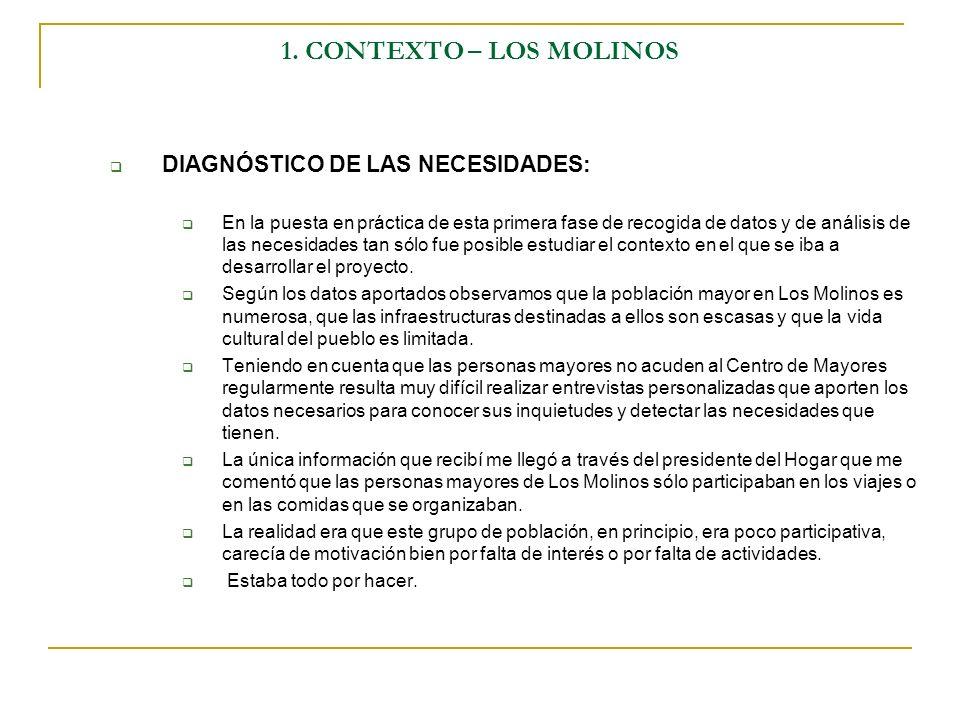 1. CONTEXTO – LOS MOLINOS DIAGNÓSTICO DE LAS NECESIDADES: