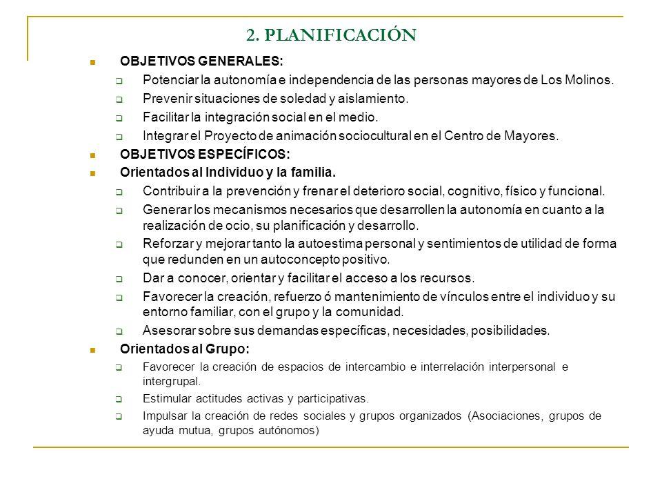 2. PLANIFICACIÓN OBJETIVOS GENERALES: