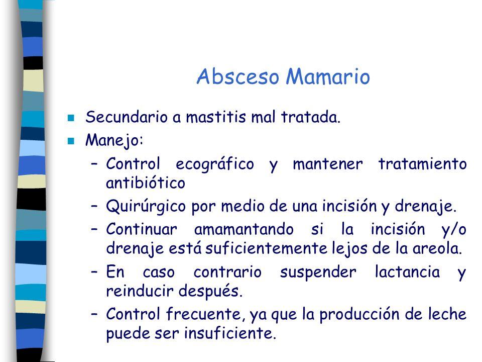 Absceso Mamario Secundario a mastitis mal tratada. Manejo: