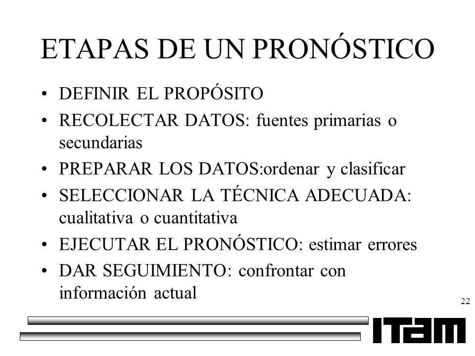 ETAPAS DE UN PRONÓSTICO