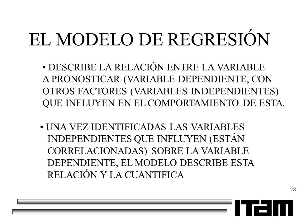 EL MODELO DE REGRESIÓN DESCRIBE LA RELACIÓN ENTRE LA VARIABLE