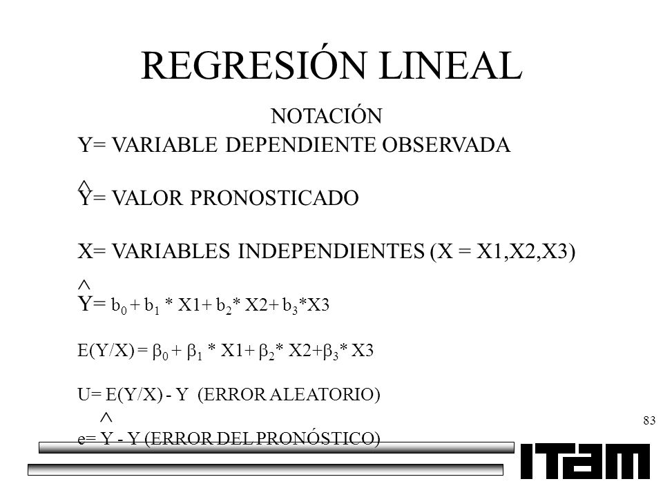 REGRESIÓN LINEAL NOTACIÓN Y= VARIABLE DEPENDIENTE OBSERVADA