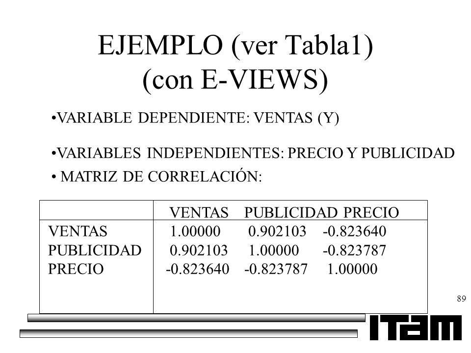 EJEMPLO (ver Tabla1) (con E-VIEWS)