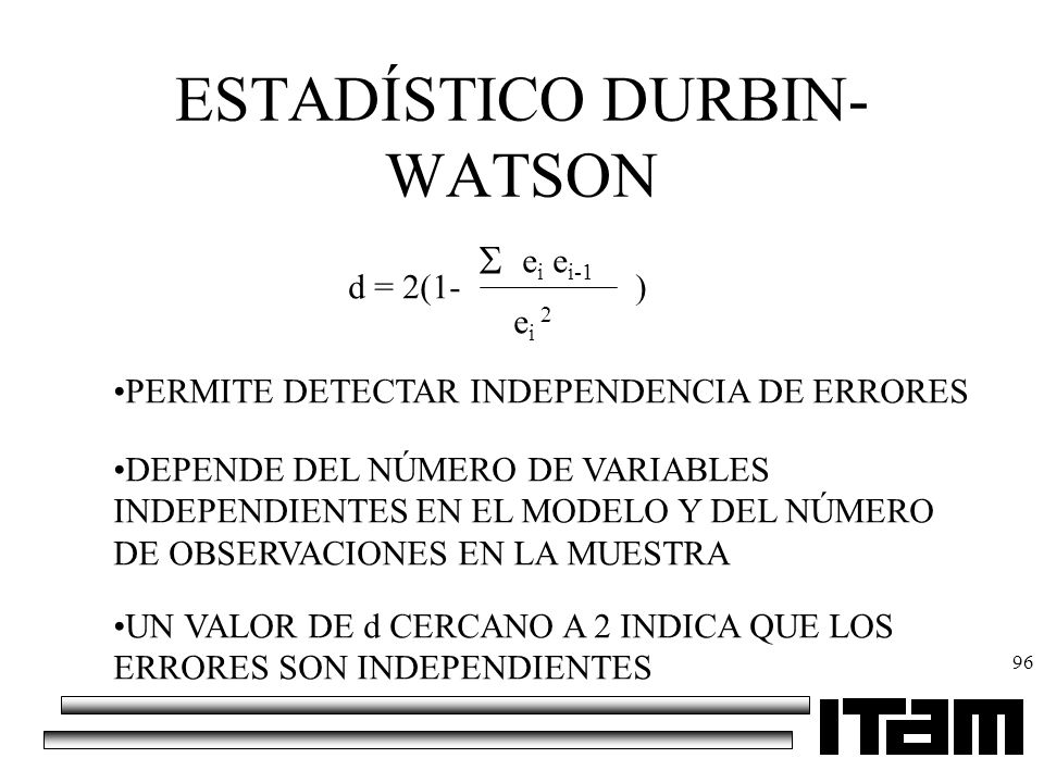 ESTADÍSTICO DURBIN-WATSON