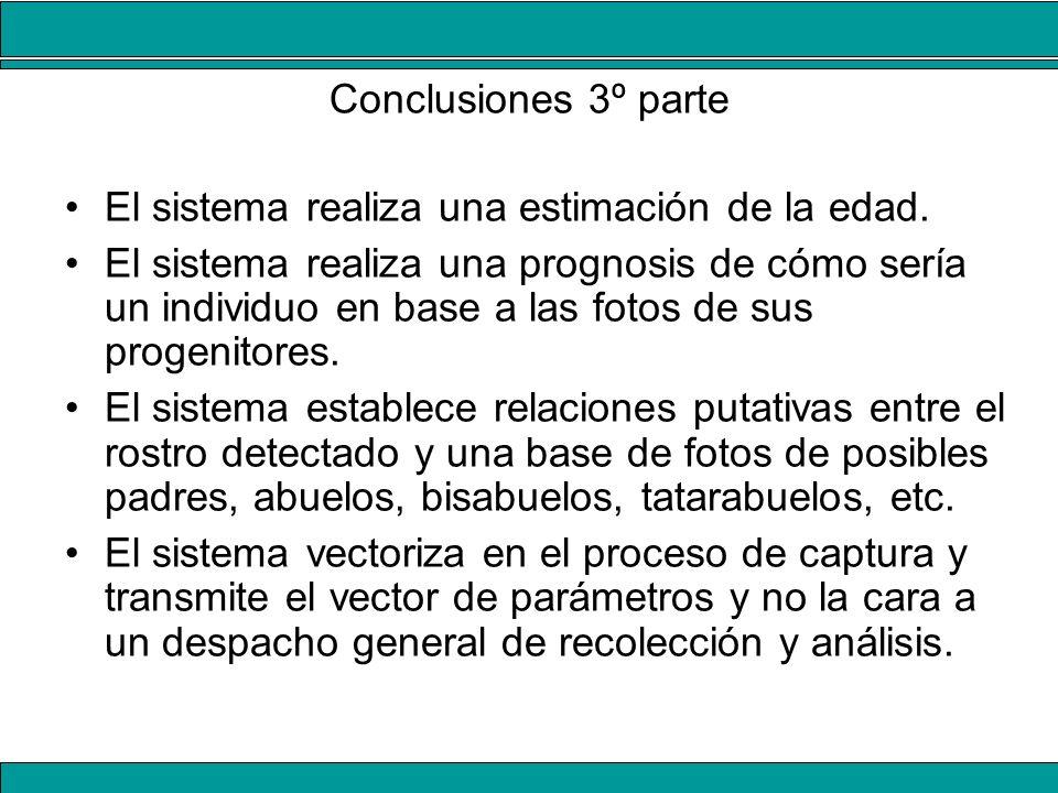 Conclusiones 3º parte El sistema realiza una estimación de la edad.