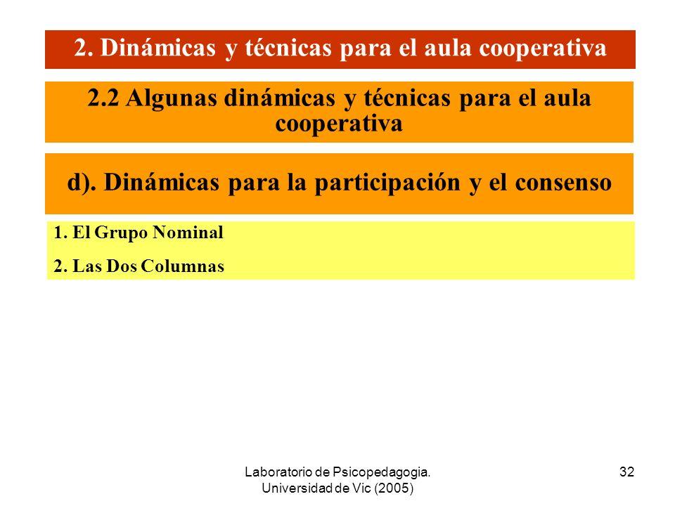 2. Dinámicas y técnicas para el aula cooperativa