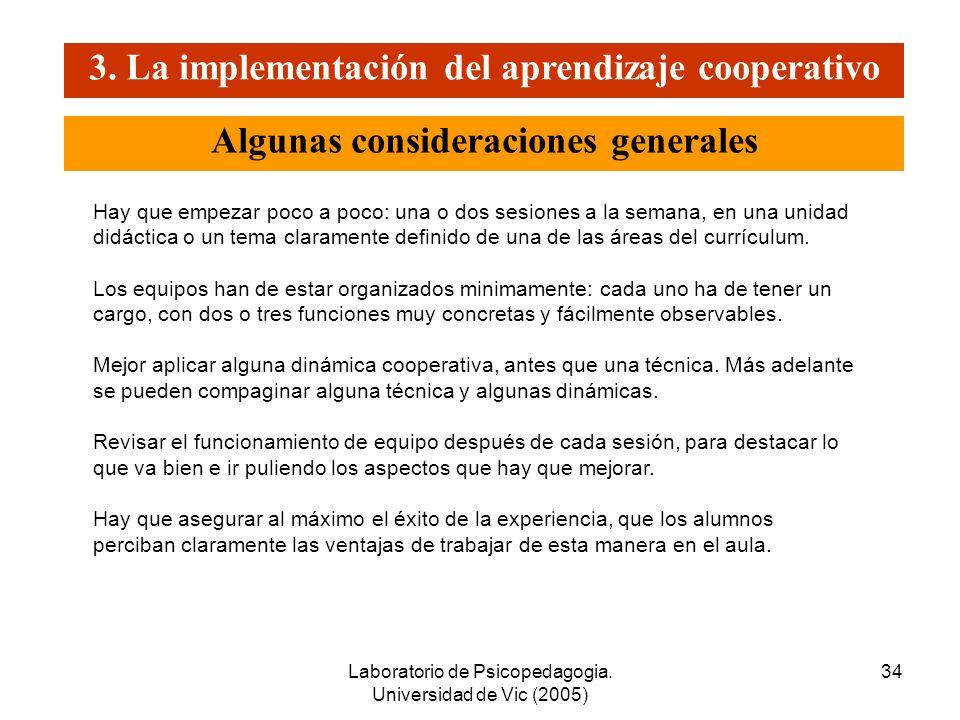 3. La implementación del aprendizaje cooperativo
