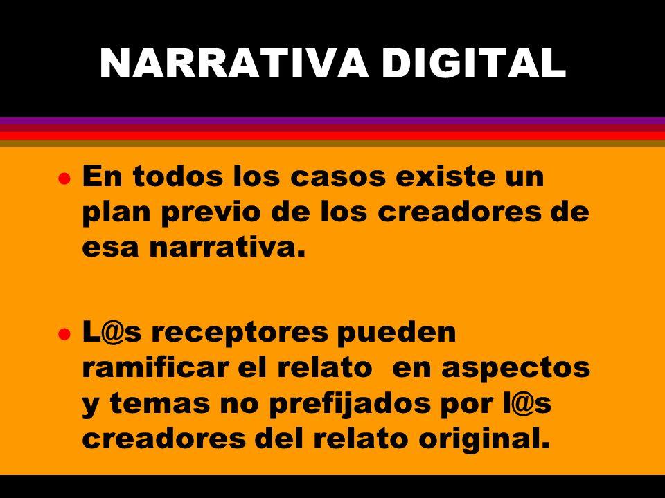NARRATIVA DIGITAL En todos los casos existe un plan previo de los creadores de esa narrativa.