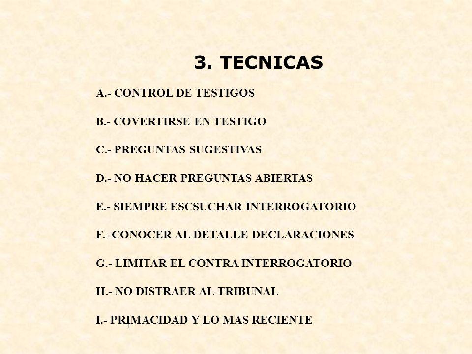 3. TECNICAS A.- CONTROL DE TESTIGOS B.- COVERTIRSE EN TESTIGO