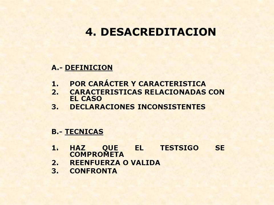 4. DESACREDITACION A.- DEFINICION POR CARÁCTER Y CARACTERISTICA
