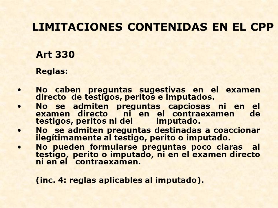 LIMITACIONES CONTENIDAS EN EL CPP