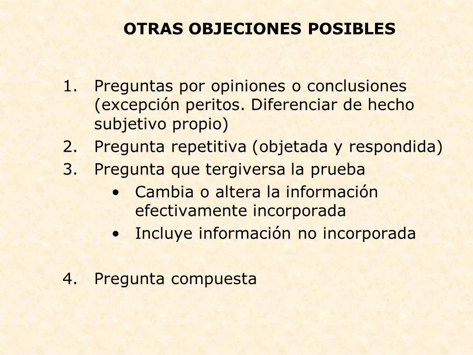 OTRAS OBJECIONES POSIBLES
