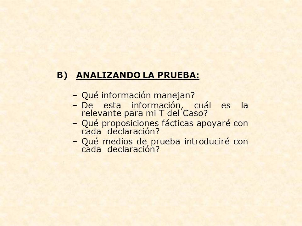 B) ANALIZANDO LA PRUEBA: