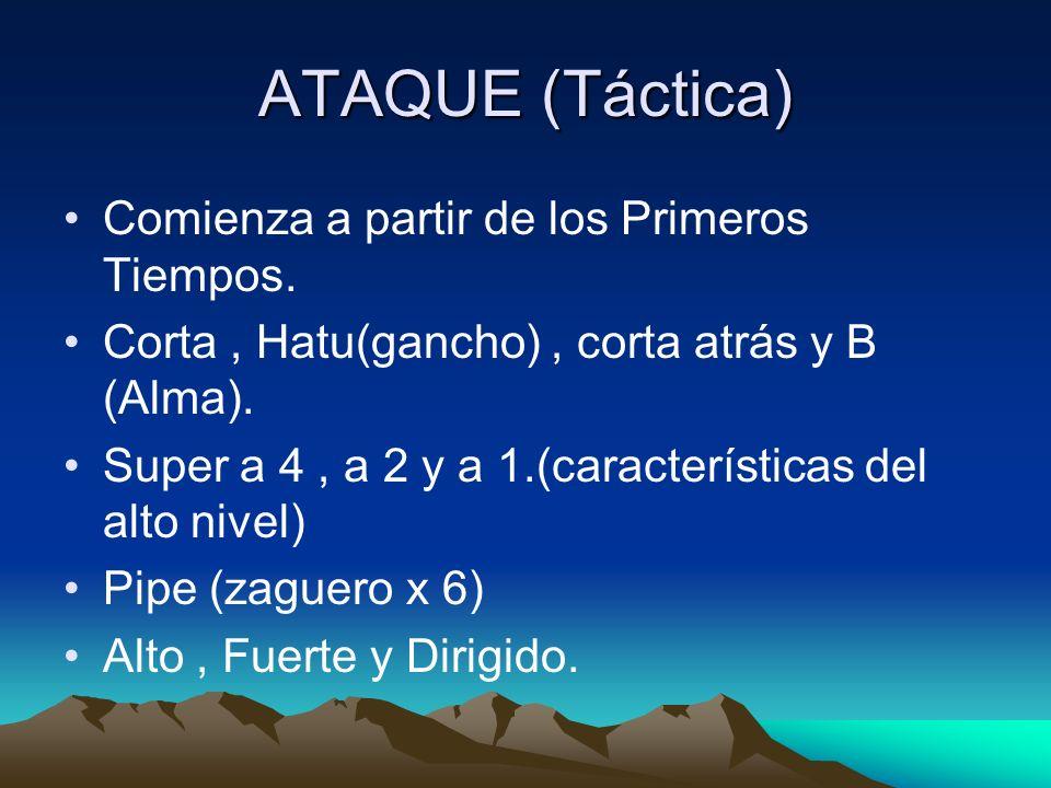 ATAQUE (Táctica) Comienza a partir de los Primeros Tiempos.