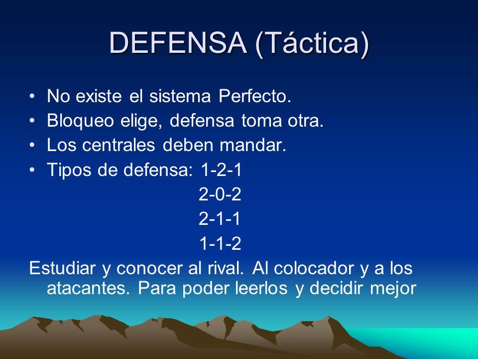 DEFENSA (Táctica) No existe el sistema Perfecto.