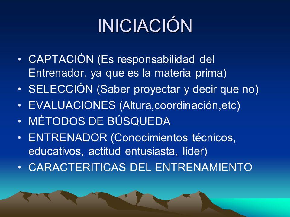 INICIACIÓN CAPTACIÓN (Es responsabilidad del Entrenador, ya que es la materia prima) SELECCIÓN (Saber proyectar y decir que no)