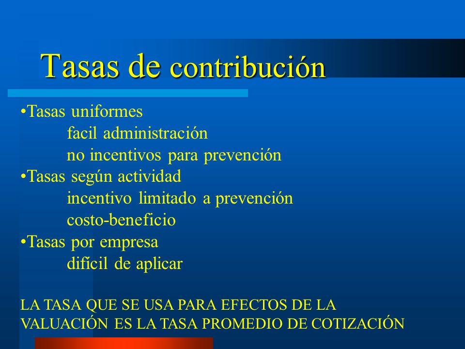 Tasas de contribución Tasas uniformes facil administración