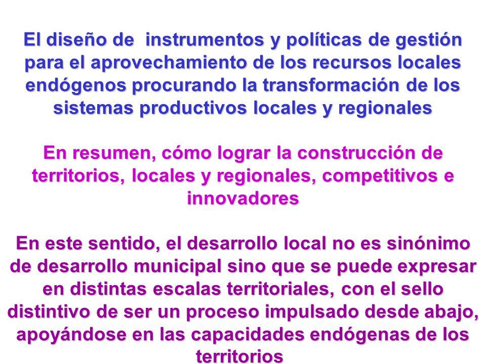 El diseño de instrumentos y políticas de gestión para el aprovechamiento de los recursos locales endógenos procurando la transformación de los sistemas productivos locales y regionales