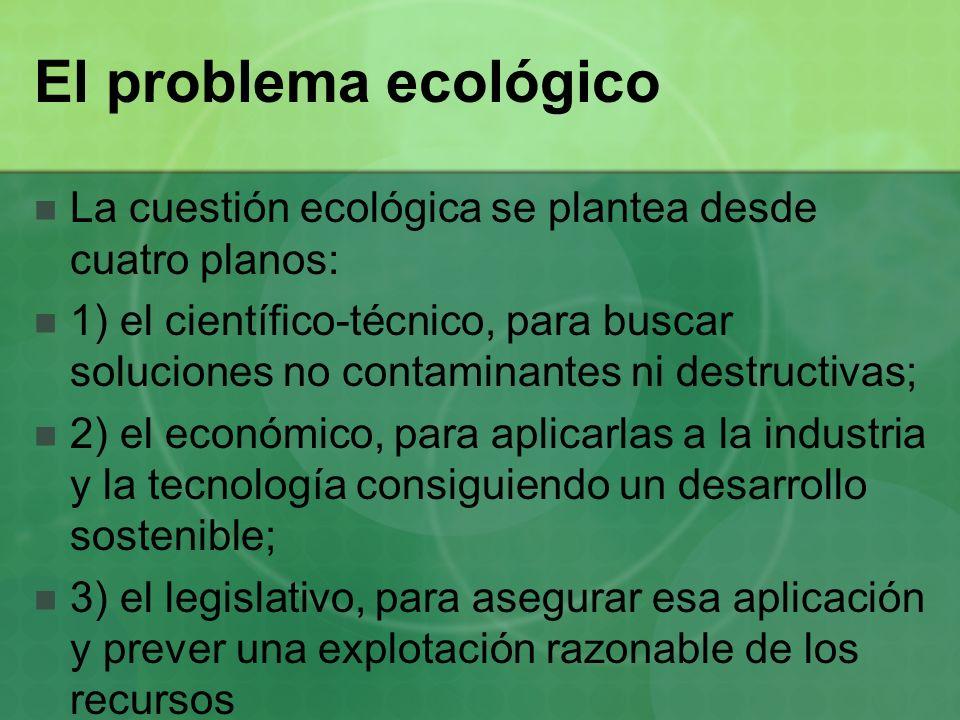 El problema ecológico La cuestión ecológica se plantea desde cuatro planos: