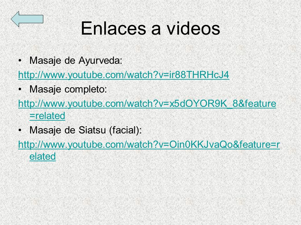 Enlaces a videos Masaje de Ayurveda: