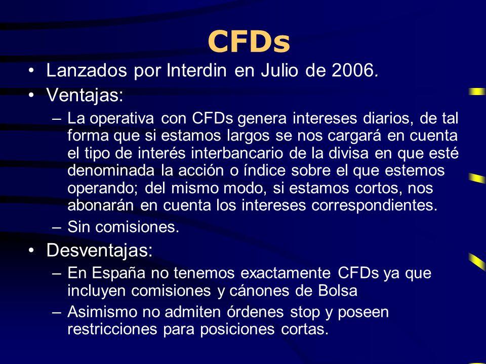 CFDs Lanzados por Interdin en Julio de 2006. Ventajas: Desventajas: